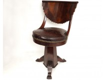 Harpist chair mahogany claw feet leather palms XIX Restoration