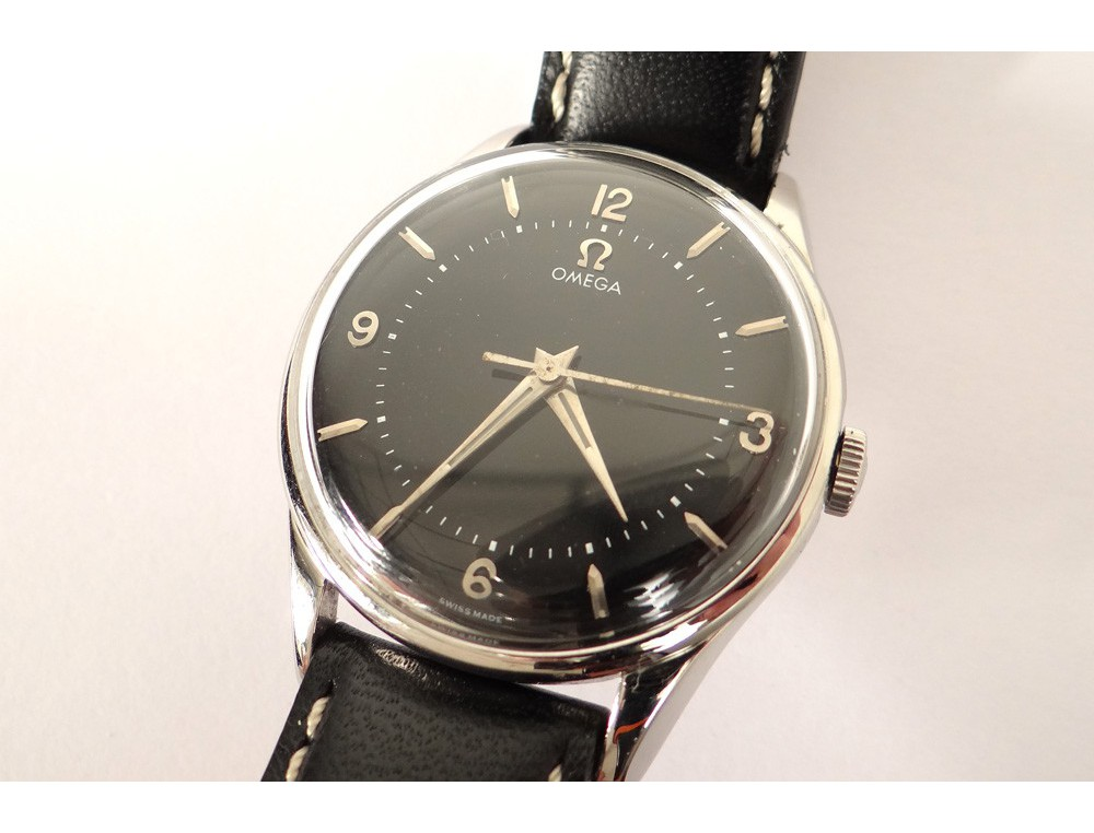 Steel Wrist Watch Black Leather Strap Swiss Omega Swiss