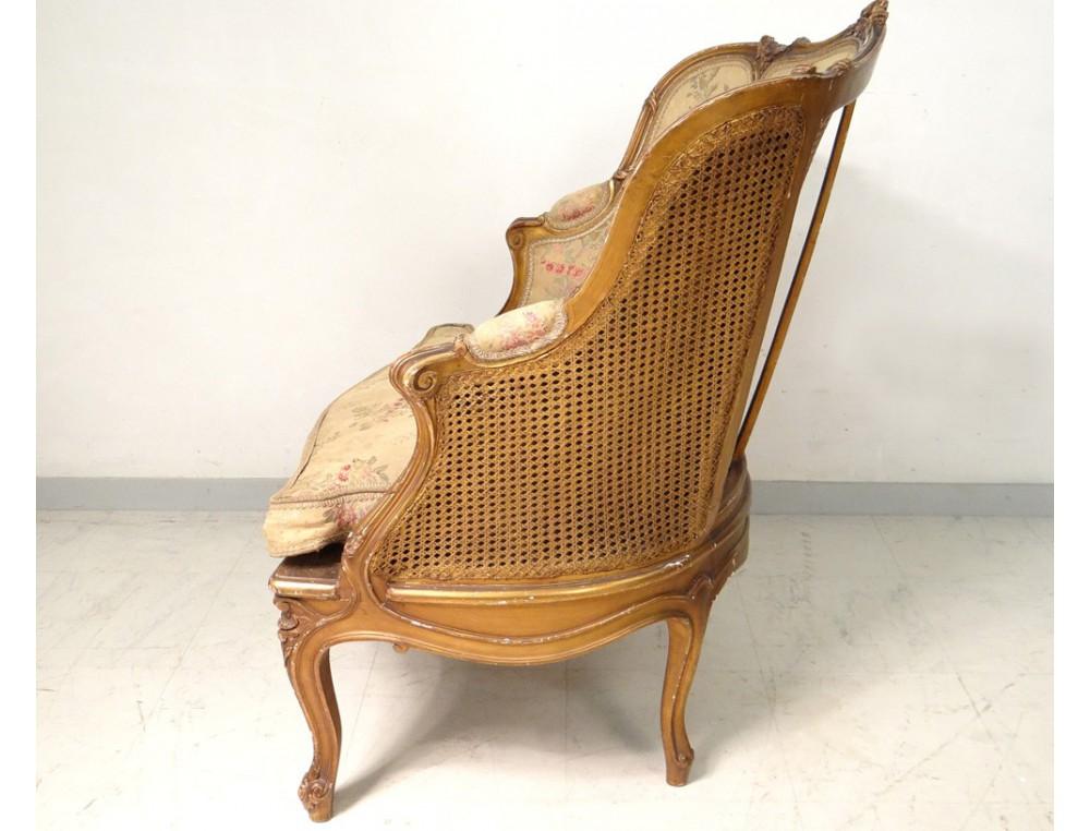 fr fauteuils  bergere louis xv fauteuil canne bois sculpte dore napoleon iii xixe siecle