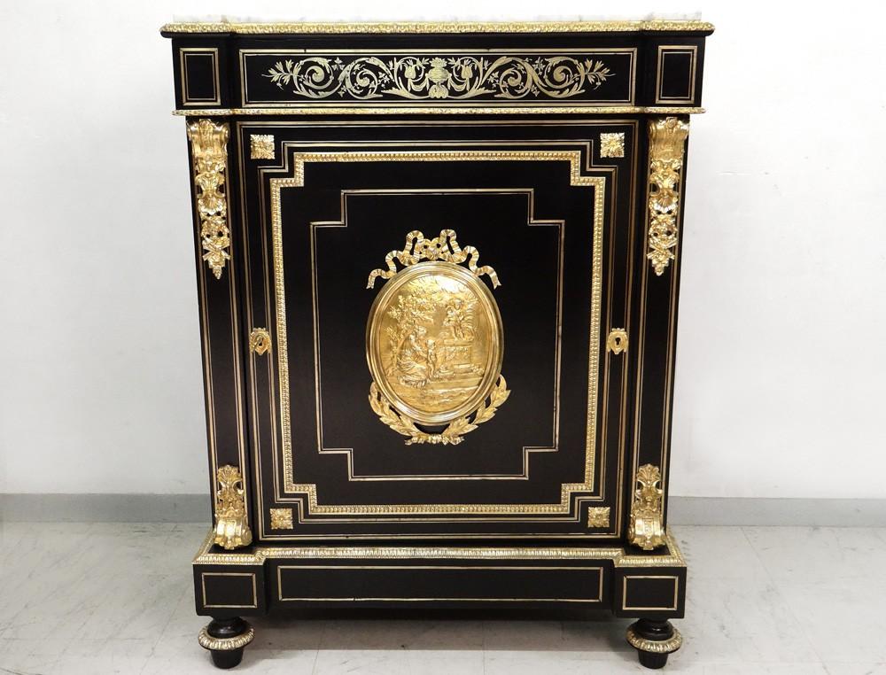 Support Furniture Napoleon Iii Ebonized Wood Bronze Brass Gilded Marble Xix