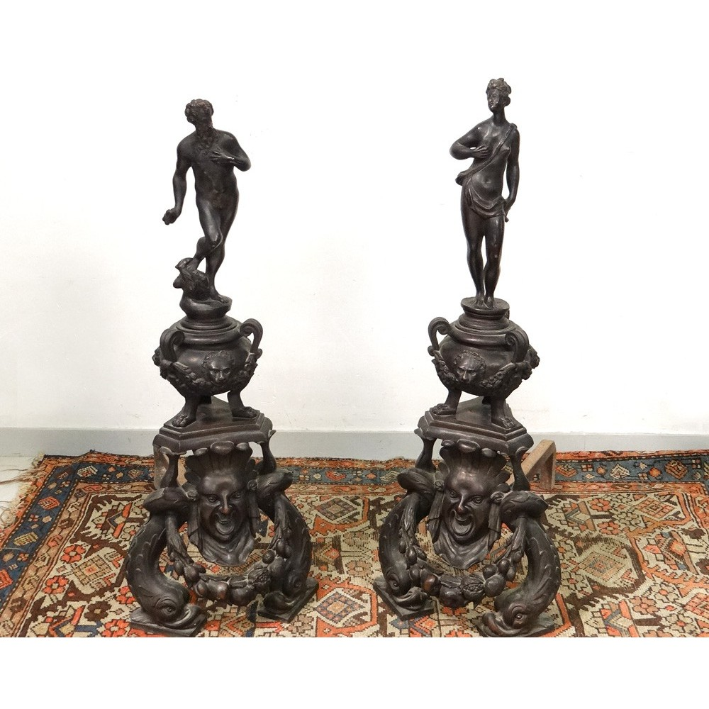 paire grands chenets chemin e ch teau bronze jupiter junon renaissance xix ebay. Black Bedroom Furniture Sets. Home Design Ideas