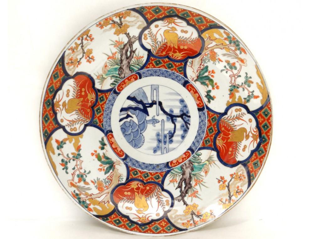 Large Flat Imari Porcelain Japan Fish Birds Herons Garden