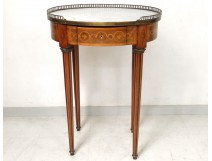 Small table Louis XVI oval pedestal table inlaid marble frieze Greek XIXth