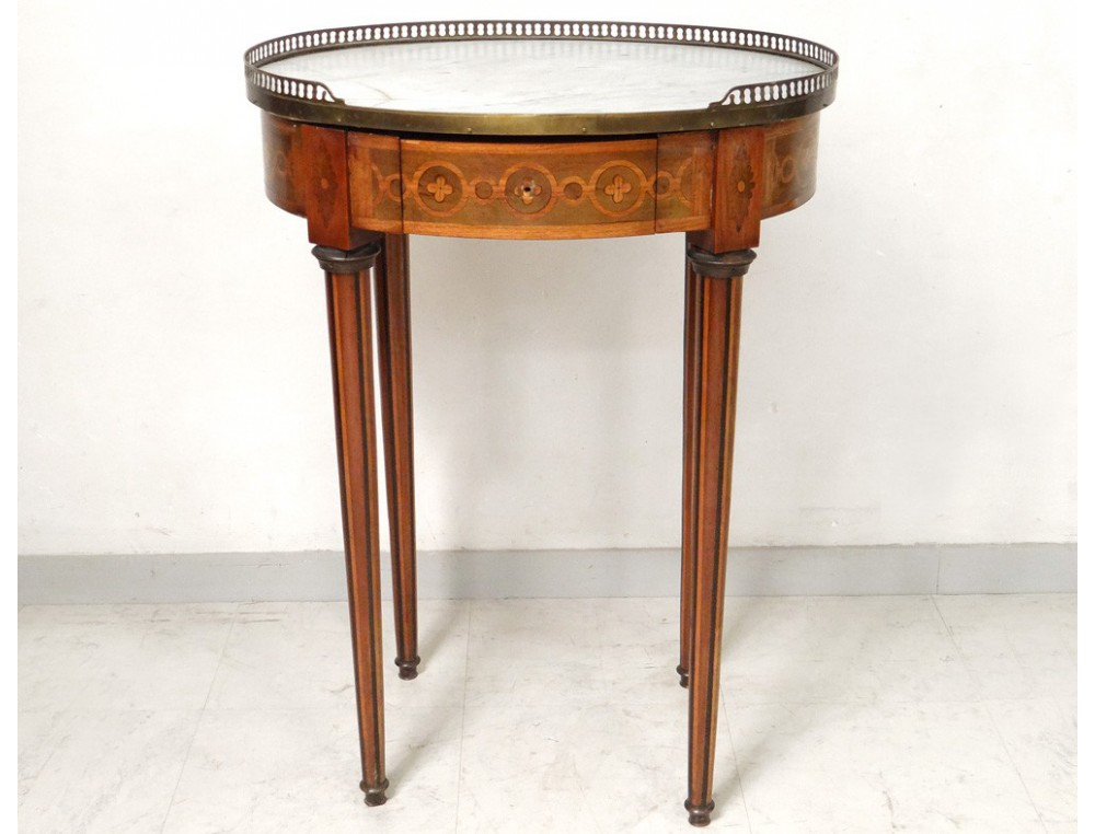 Small Table Louis Xvi Oval Pedestal Table Inlaid Marble