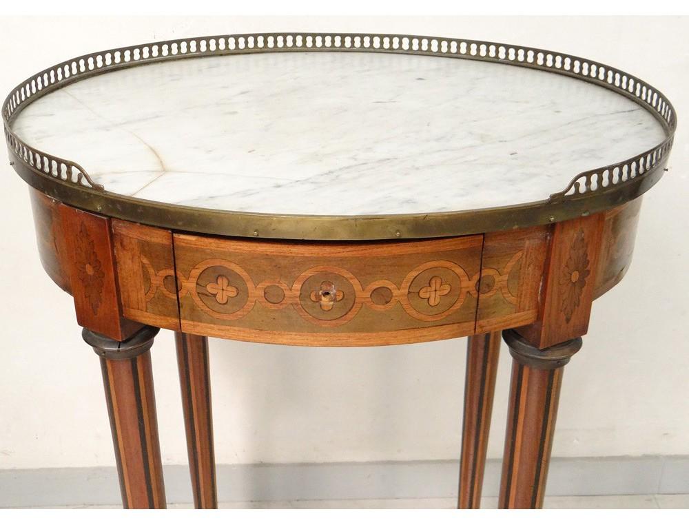 Petite Table Louis Xvi Guéridon Ovale Marqueterie Frise Grecque