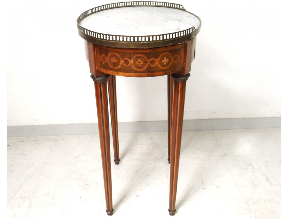 small table louis xvi oval pedestal table inlaid marble. Black Bedroom Furniture Sets. Home Design Ideas