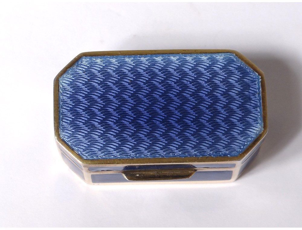 Small Gilt Silver Blue Enamel Box Italian Goldsmith