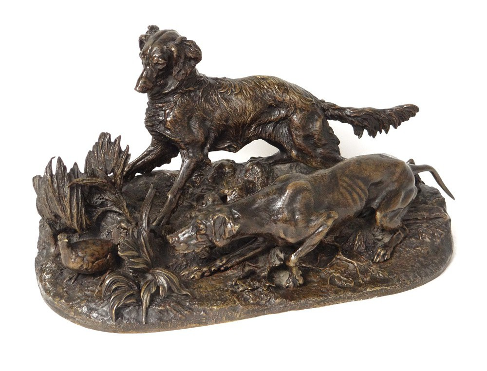 Bronze Sculpture Hunting Dogs Stopped Pj Partridge