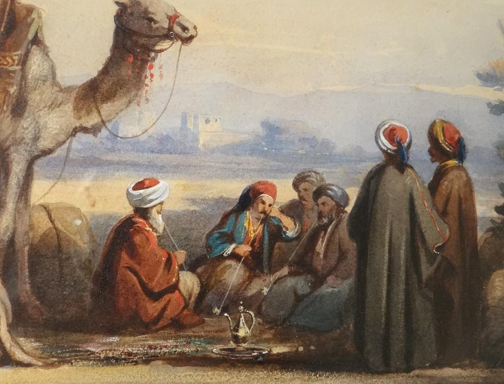 Delacroix Watercolor Orientalist Bedouin Camel Desert