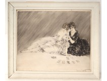 Etching Louis Icart young women with playing cards elegant twentieth century