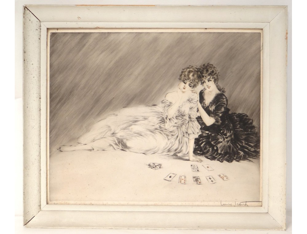 Etching Louis Icart Young Women With Playing Cards Elegant