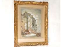 Watercolor painting Charles Huard characters twentieth century Normandy town
