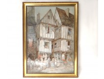 Watercolor painting Charles Huard Granville Normandy characters butcher XXè