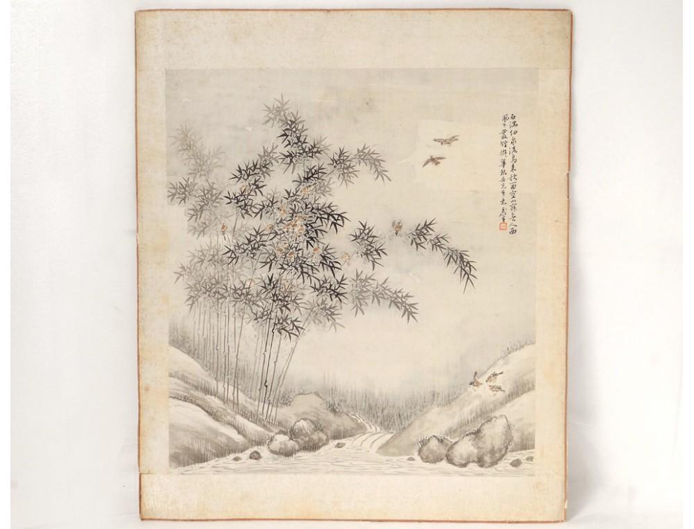 Japanese Rice Paper Bamboo Bird Landscape Print River