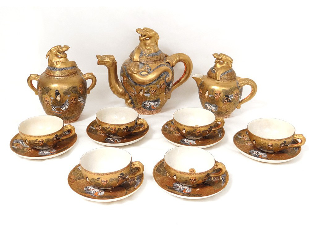 porcelain tea set cups satsuma japan dragons characters. Black Bedroom Furniture Sets. Home Design Ideas