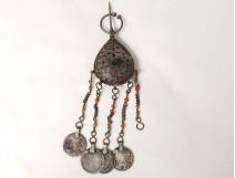 Bermil pear pendant brooch silver enamels coral Zaiane twentieth Morocco