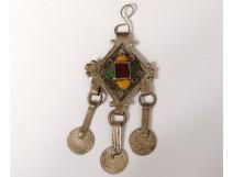 Cabochon pendant necklace silver enamels Maghreb Morocco Tiznit twentieth century