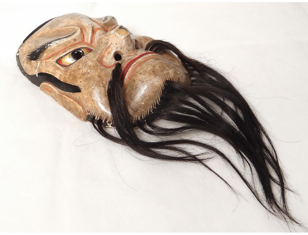 Mask Noh Theater Polychrome Wood Demon Gigaku Beshimi O