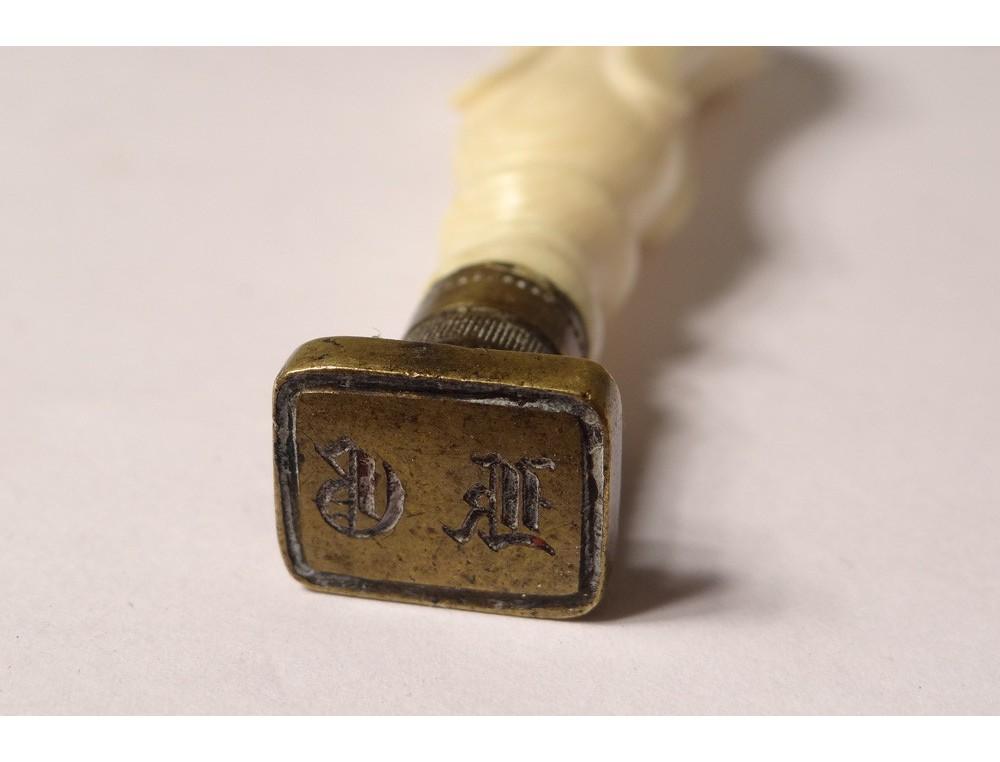 Gold Metal Round Seal Stamp Seal Carved Antique Monogram