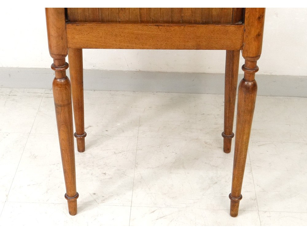White Marble Walnut Bedside Table Curtain Nineteenth Century