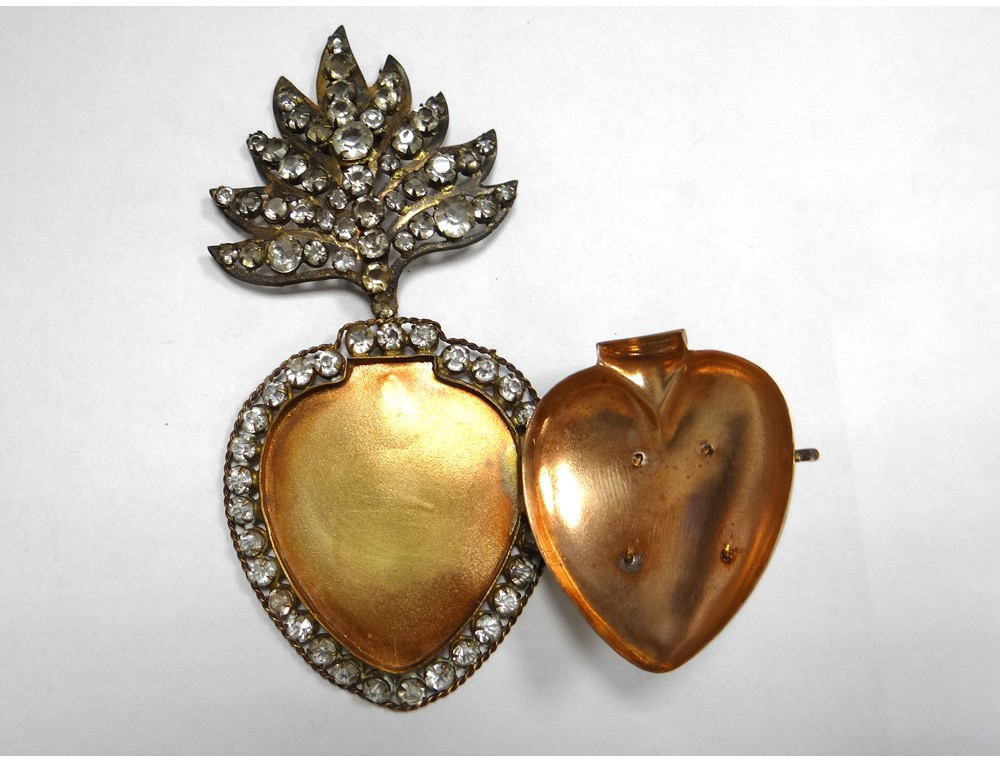 Heart Of Mary Votive Box Gold Metal Rhinestone Sacred