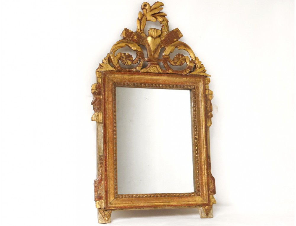 Louis xvi mirror ice carved gilt frame heart flowers for Miroir louis 16