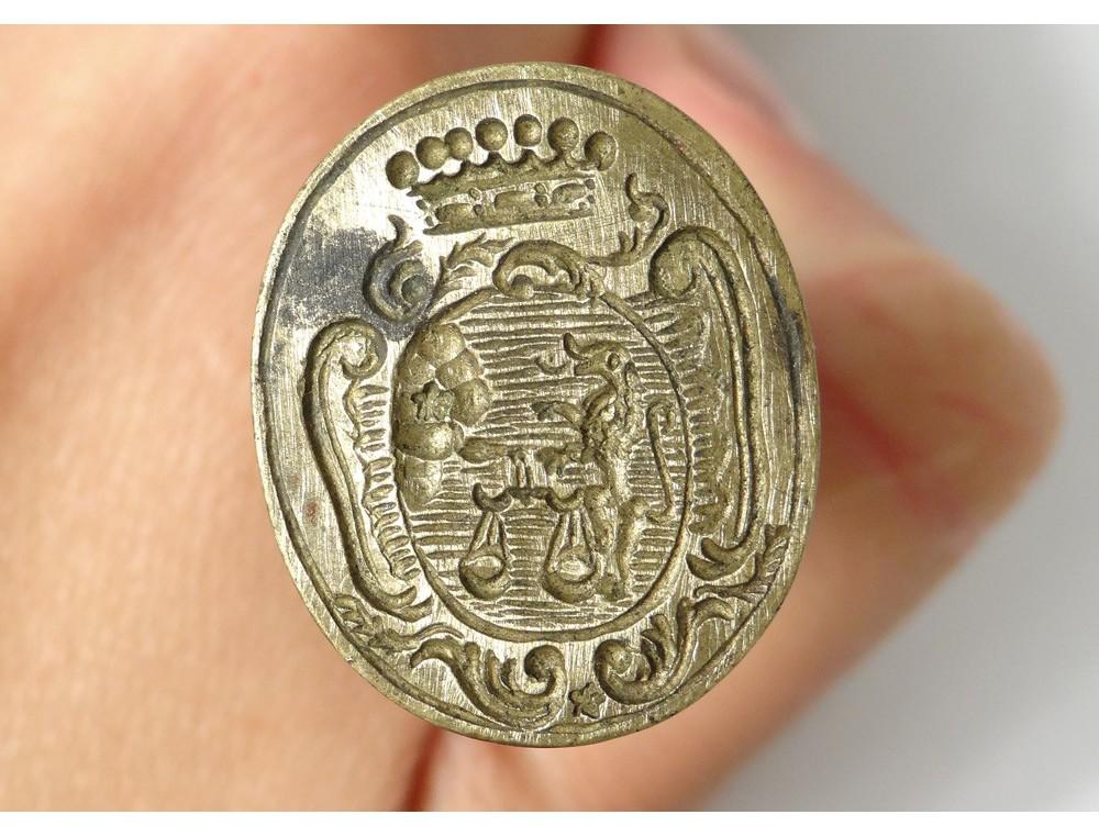 Bronze stamp seal coat crest Vicomte Saint-Antonin lion XVIII