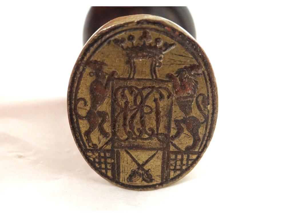 seal stamp bronze crown monogram crest swords lions marquis xviii