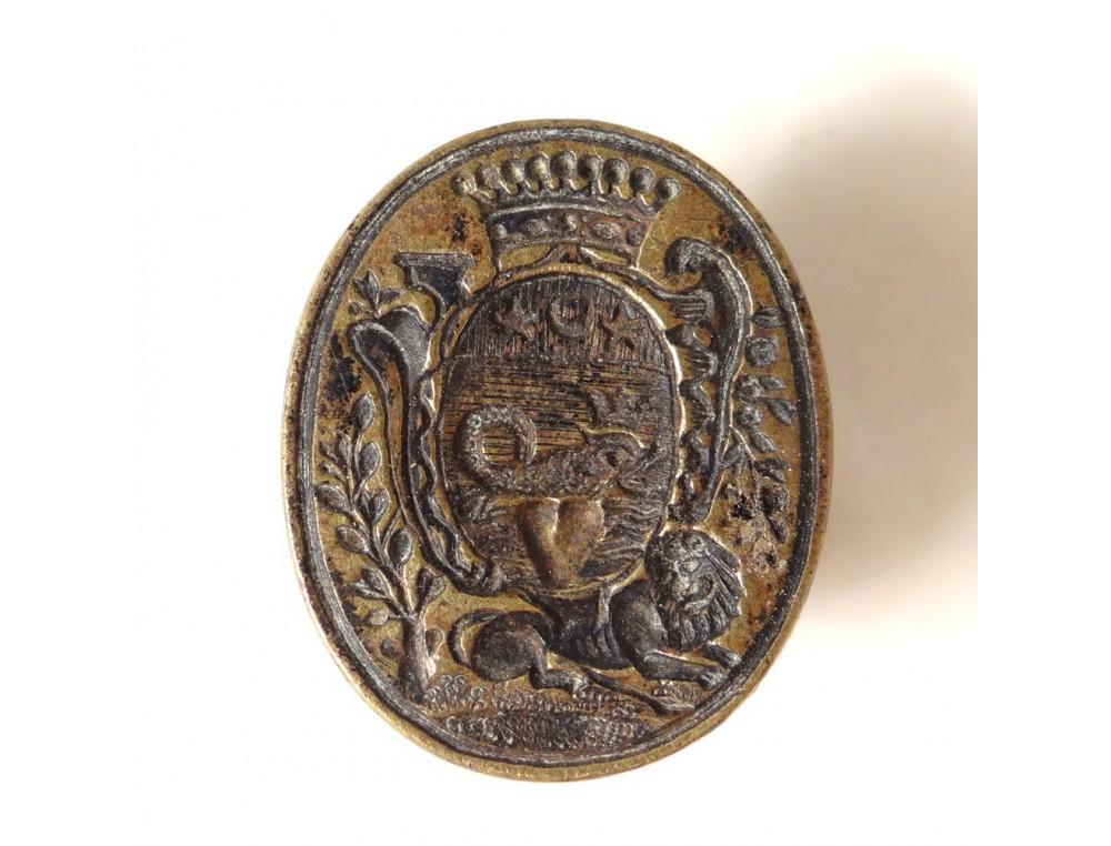 Seal stamp bronze dolphin lion crest crest crown heart ...