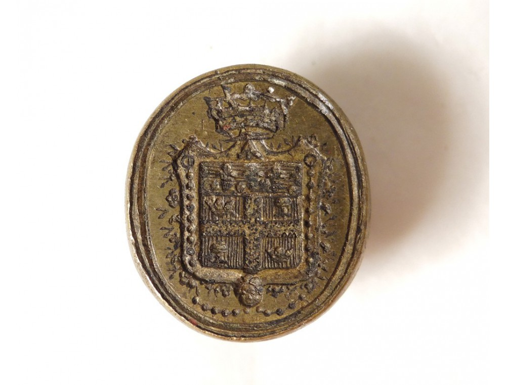 Seal Coat Of Arms Crest Crown Bronze Stamp Seal Antique