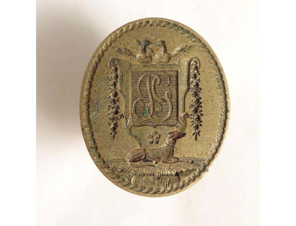 Seal coat of arms crest monogram stamp bronze greyhound ...