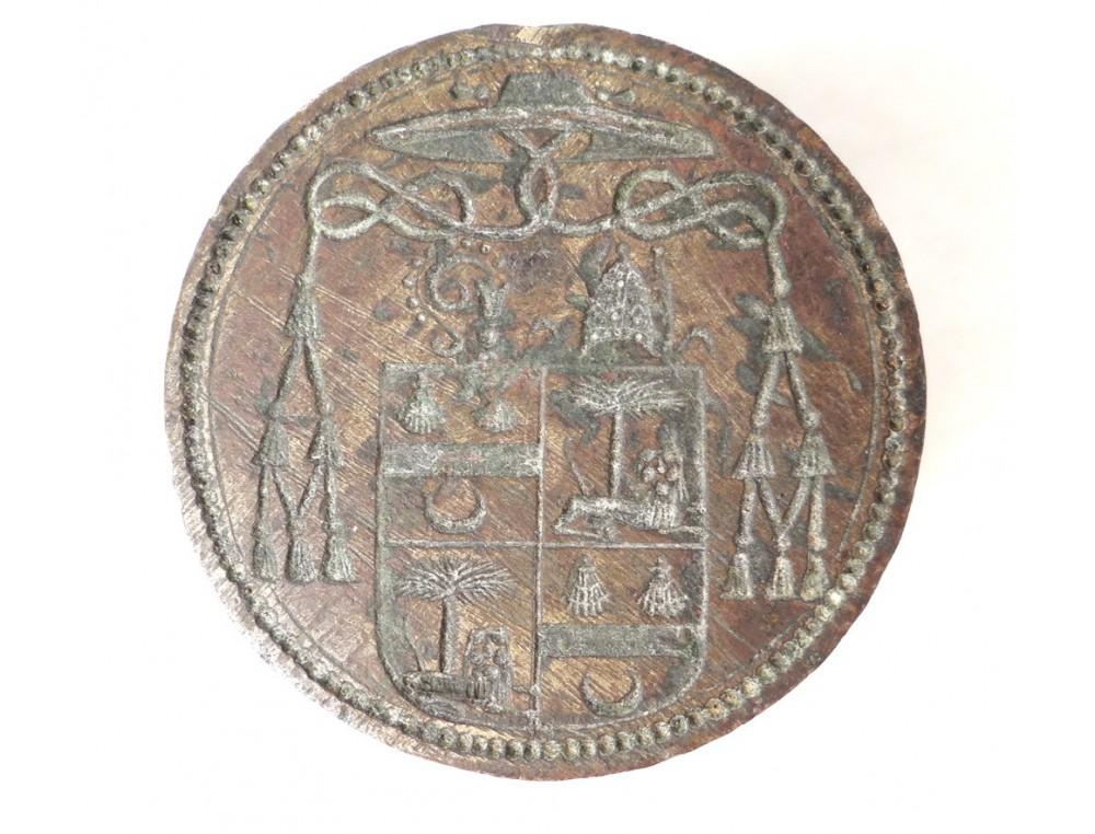 Sceau cachet bronze armoiries blason évêque mitre palmier ...