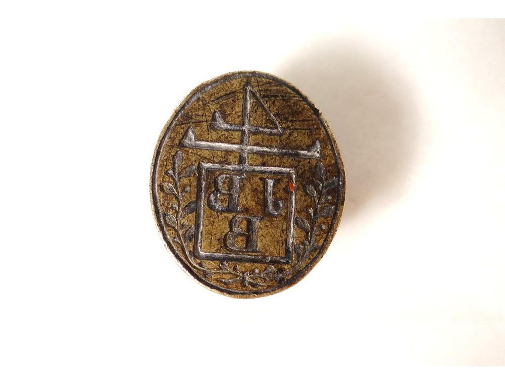 Bronze stamp seal monogram crest JBB ancient sailing ship ...