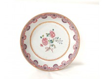 Hollow plate porcelain pink flowers India Company eighteenth century family