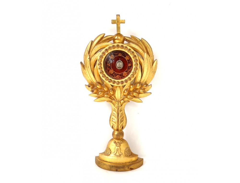 Reliquary Monstrance Paperolle Golden Oak Wood Saint