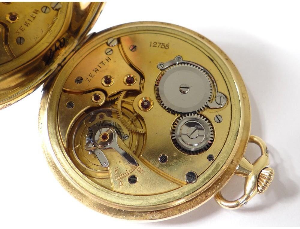 Solid Gold Pocket Watch 18k Gold Watch Chain Zenith Swiss Xx