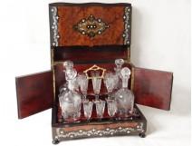 Cellar magnifying glass liquor decanters amboine inlaid pearl Baccarat NapIII XIX