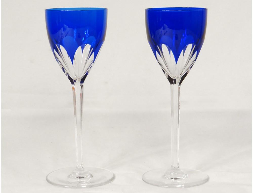 8 wine glasses rhine cut crystal baccarat france genova color xx - Baccarat stemware ...