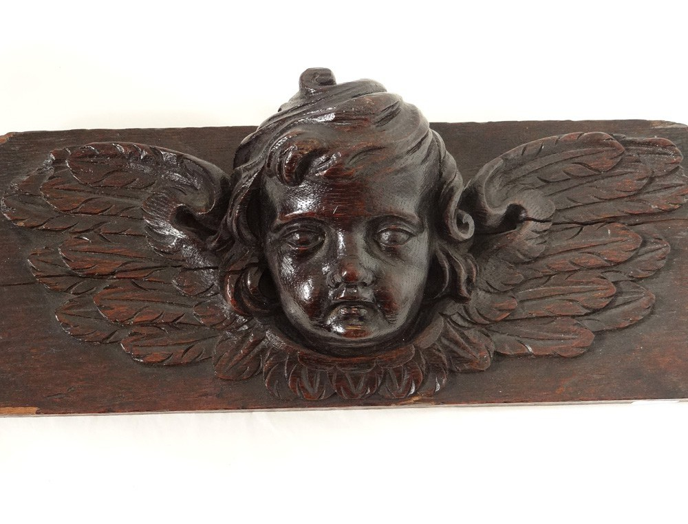 Sculpture Carved Wooden Angel Cherub Putti Head