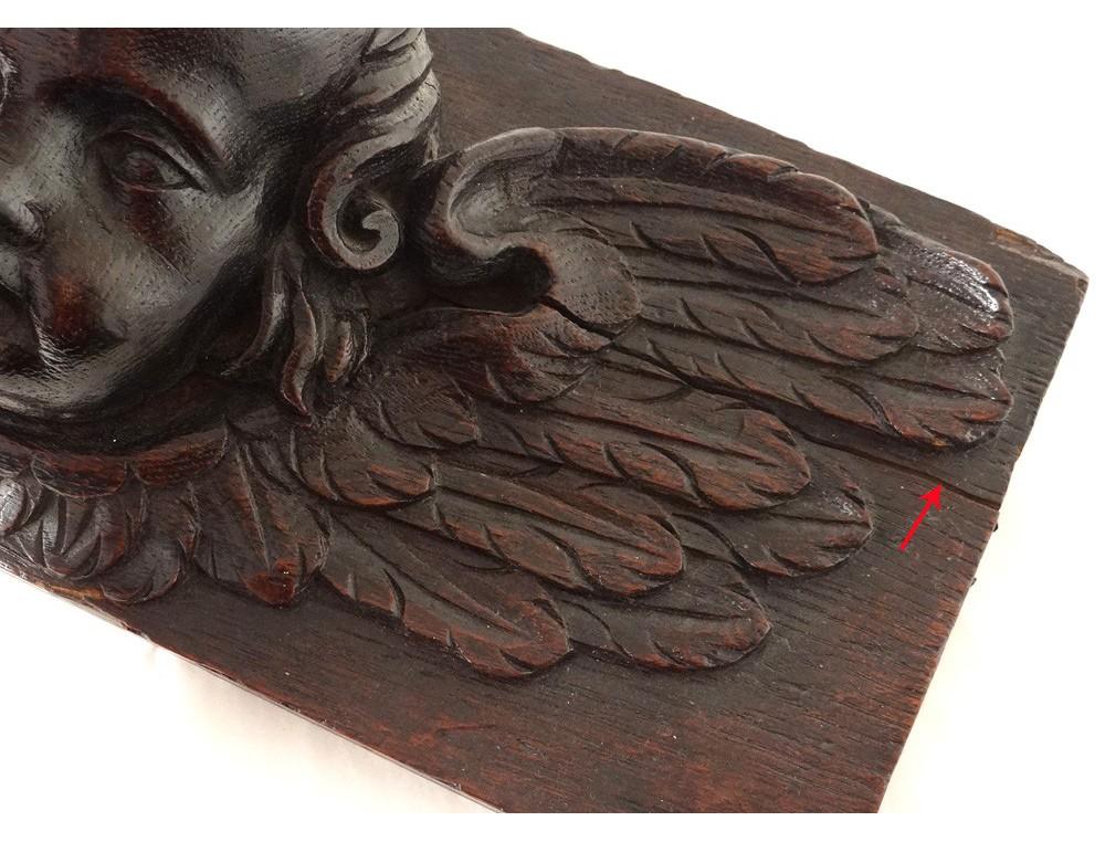 Sculpture Carved Wooden Angel Cherub Putti Head