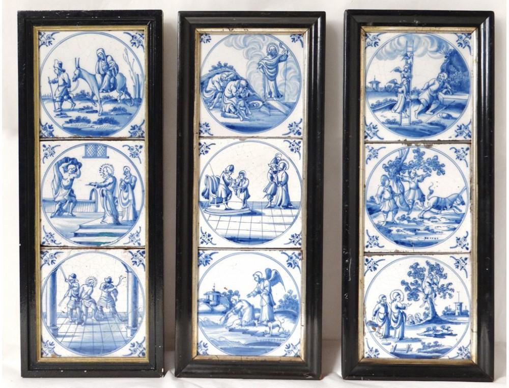 9 Earthenware Tiles Delft Blue Monochrome Characters