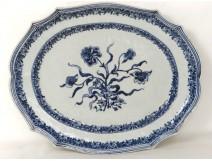 Company flat porcelain white-blue flowers Kangxi Indies eighteenth century