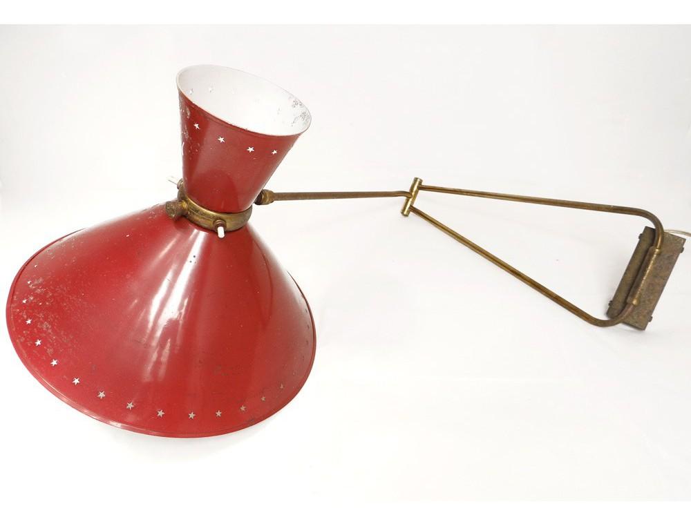 Lampe Potence Diabolo Rene Mathieu Lunel Tole Etoiles Laiton Design