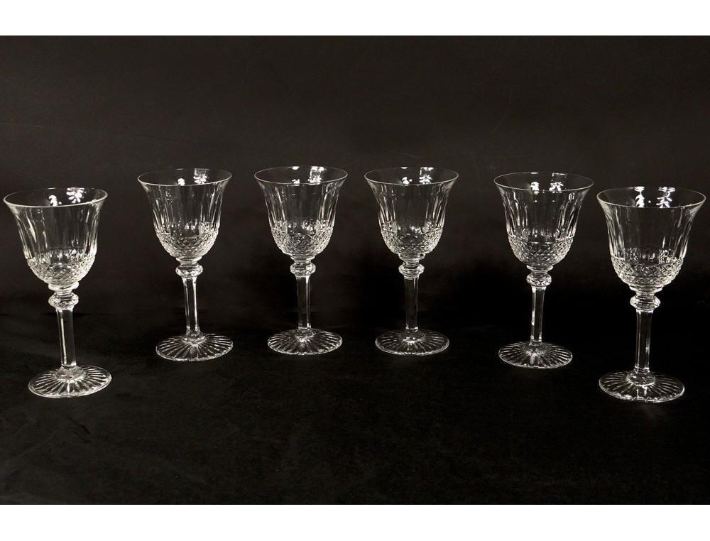 6 Crystal Stemware White Wine Cut St Louis Tommy Xxth Model