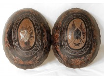 2 half coconut carved gourds convict labor Guiana Cayenne XIX
