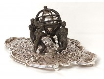 Inkwell bronze armillary sphere continents characters Lerolle nineteenth Brothers