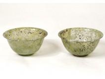 Pair of small jade bowls China nephritis nineteenth century