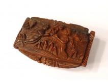 Snuffbox corozo carved putti putti work harp musician convict nineteenth