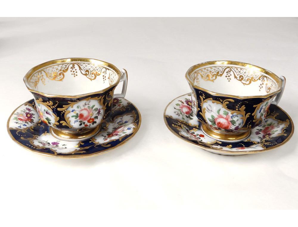 service caf th porcelaine valentine saint gaudens fleurs tasses xix me. Black Bedroom Furniture Sets. Home Design Ideas
