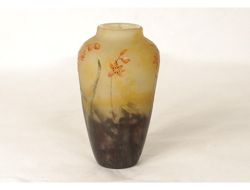 Small Glass Paste Vase Daum Nancy Flowers Wallflowers Art Nouveau Xixth